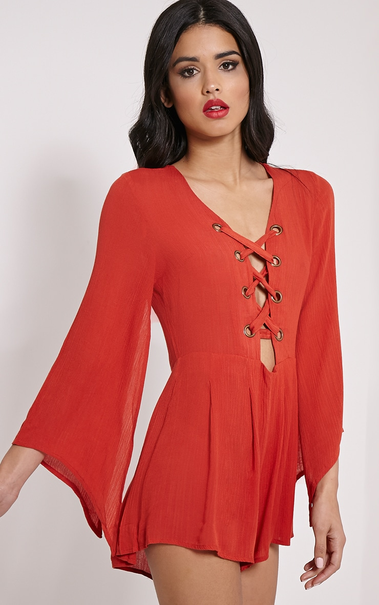 Clemence Orange Lace Up Detail Bell Sleeve Playsuit 4