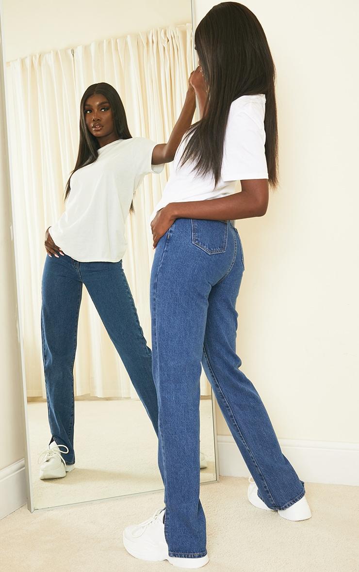 Tall Mid Blue Split Hem Jeans 1