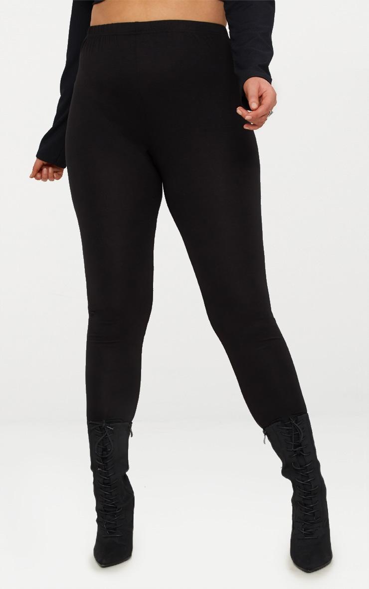 Plus Black Jersey Leggings 2