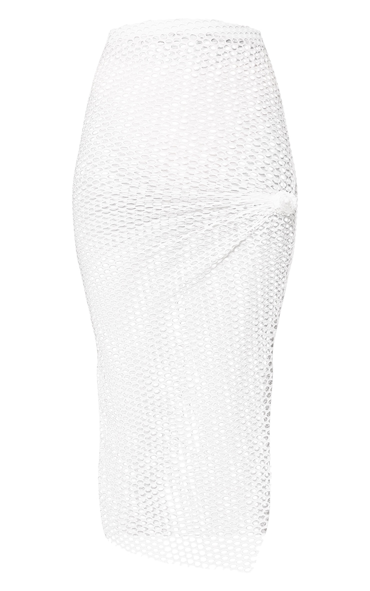 Cream Fishnet Knotted Maxi Skirt 3