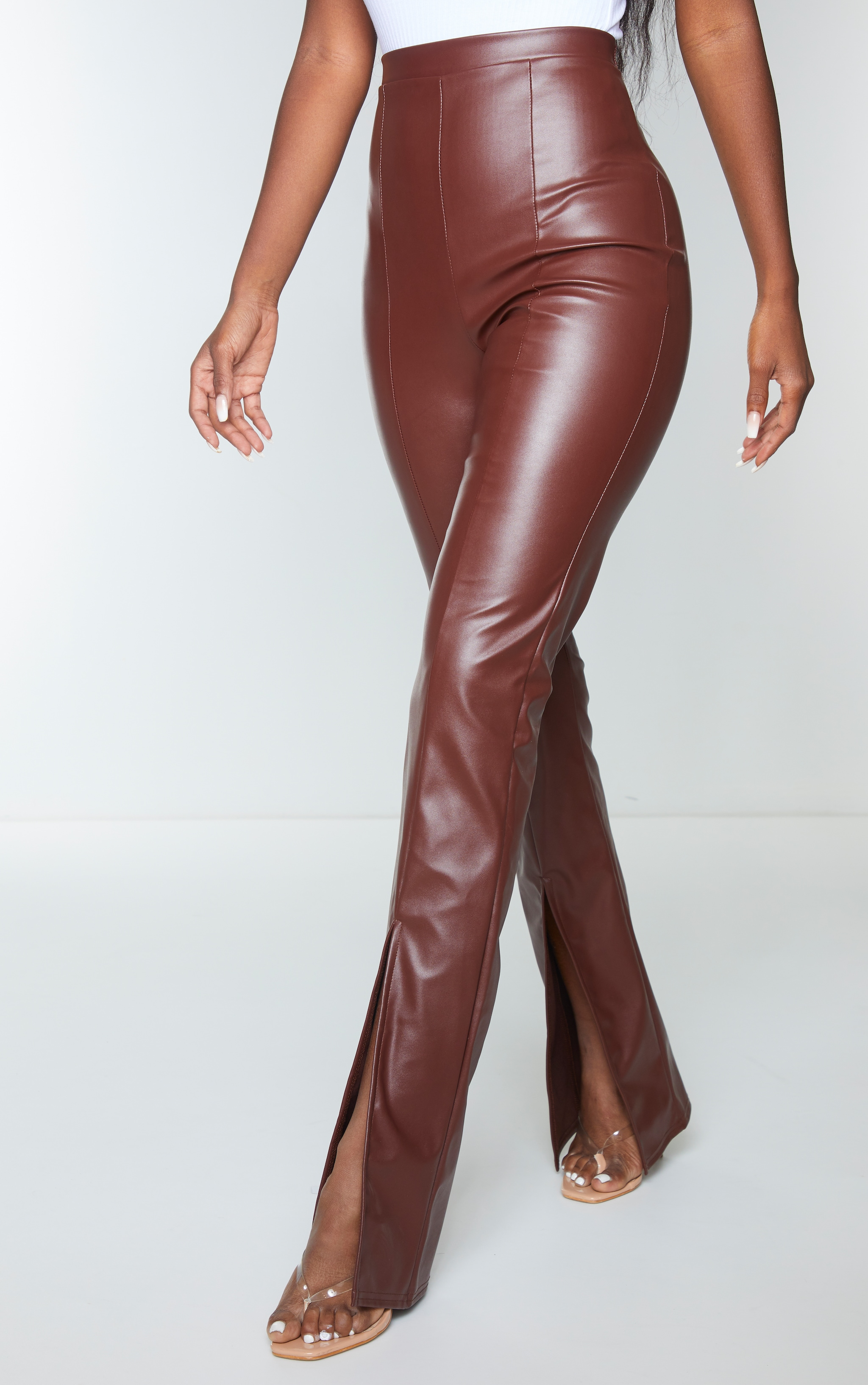 Chocolate Faux Leather Seam Detail Split Hem Pants 2