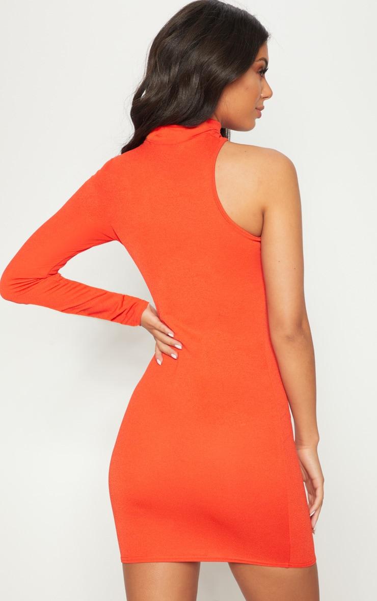 Bright Orange High Neck Asymmetric Sleeve Bodycon Dress 2