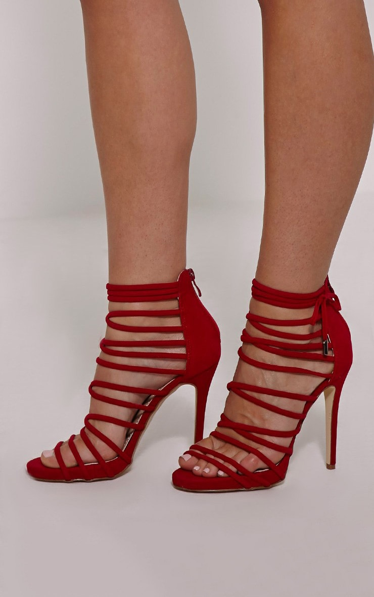 Ella Red Suede Strappy Heels 1