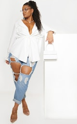Plus White Faux Suede Cargo Ruched Waist Shirt 4