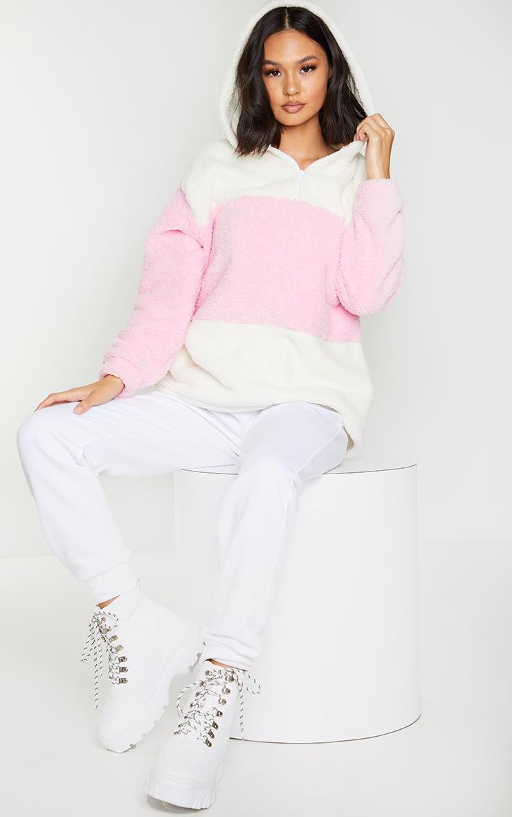 Baby Pink Borg Colour Block Zip Hoodie 3