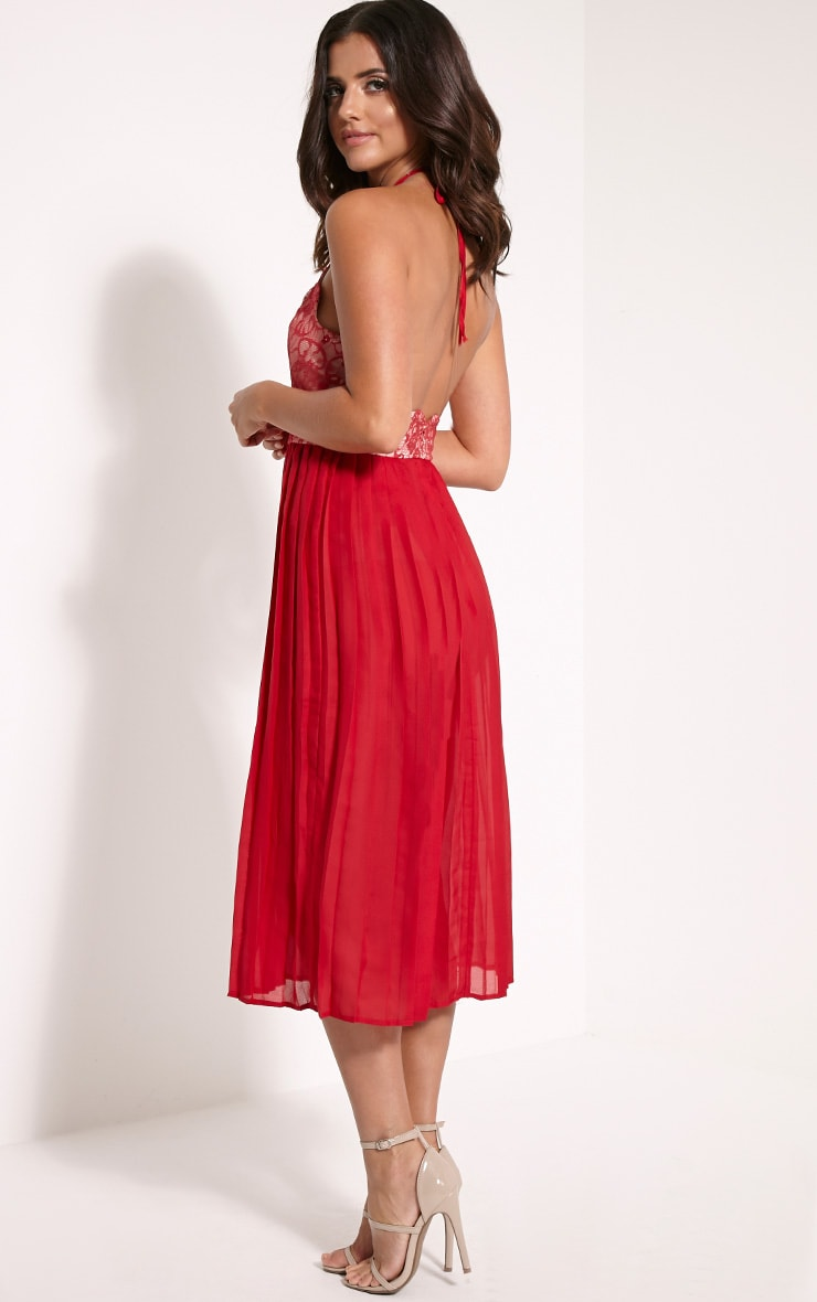 Cristabel Red Lace Halterneck Pleated Midi Dress 4