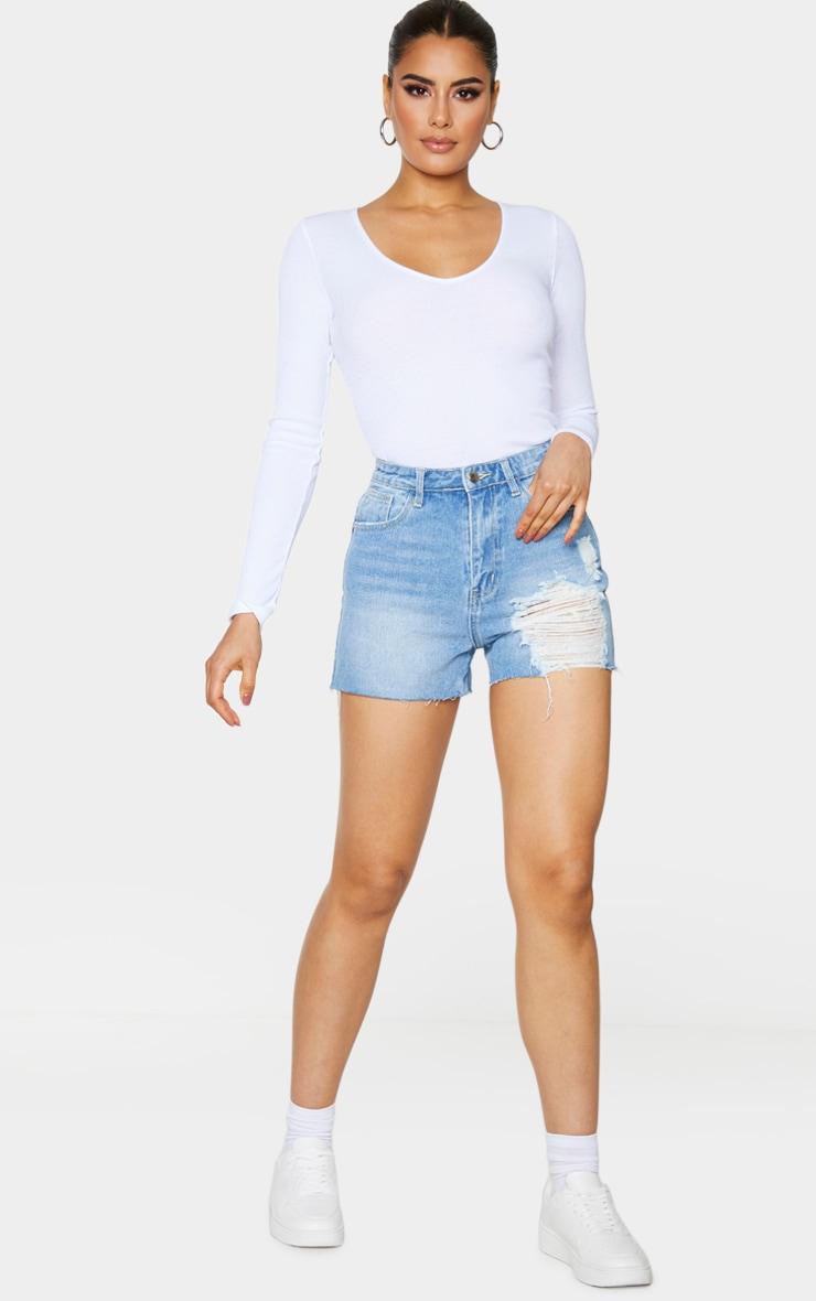 Tall Light Blue Wash Distressed Denim Mom Shorts 4