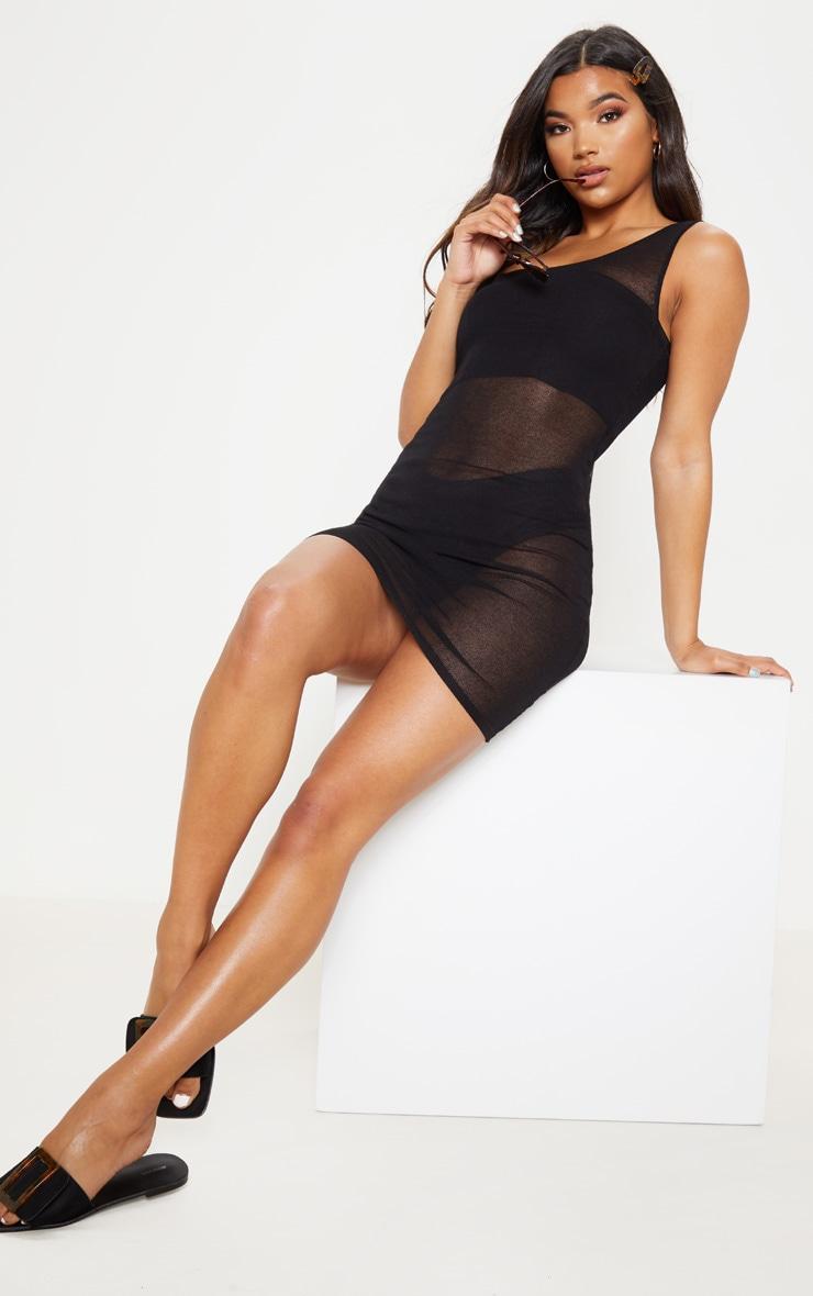 Black Knitted Light Weight Asymmetric  Dress  3