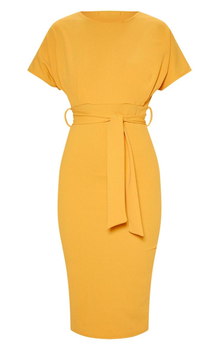 Mustard Short Sleeve Tie Waist Midi Dress 3