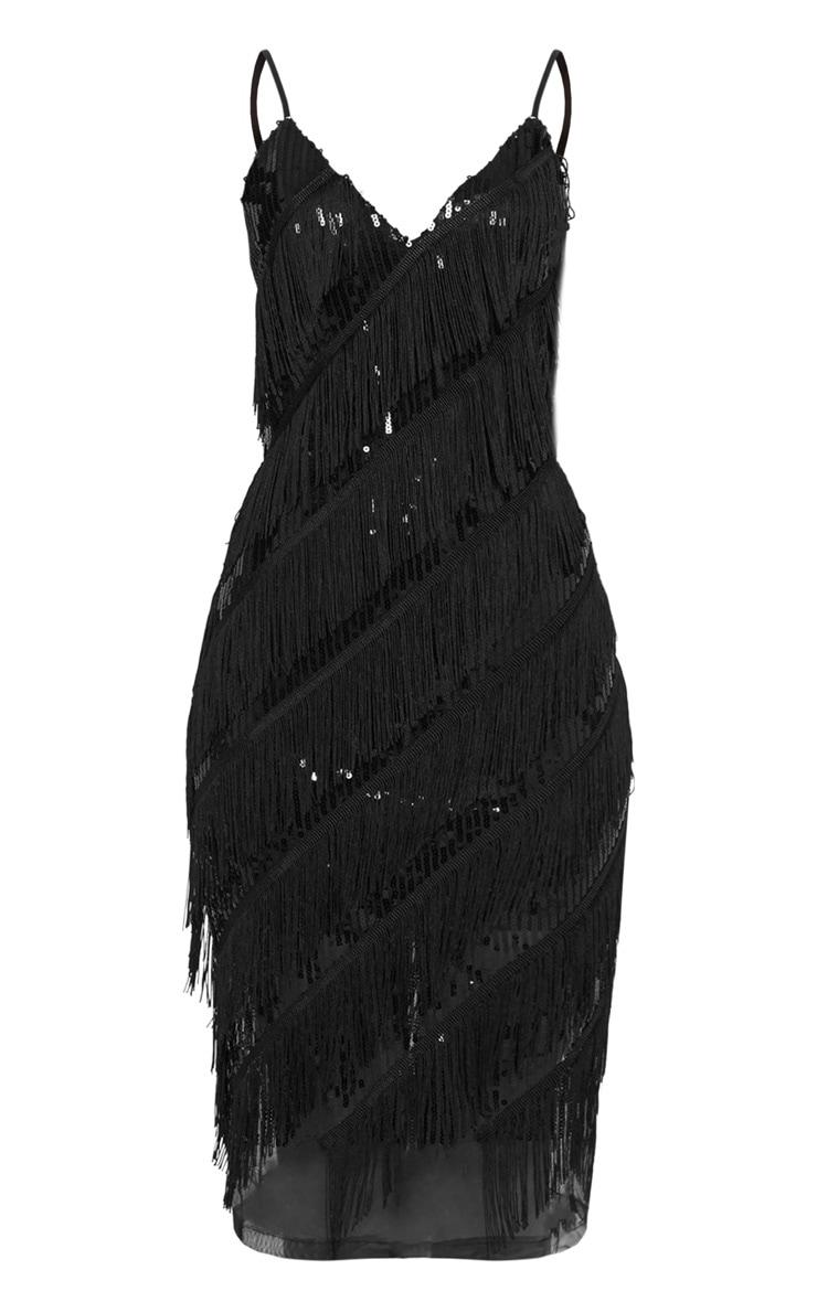 Black Sequin Tassel Strappy Midi Dress 3