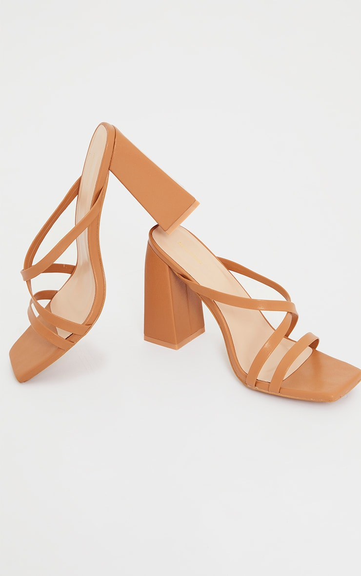 Camel Wide Fit Flare High Block Heel Strappy Mules 4
