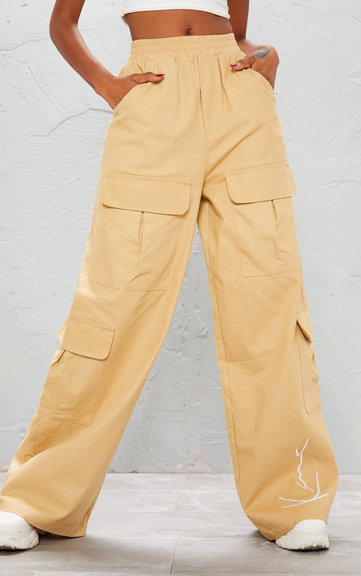 KARL KANI Camel Embroidered Wide Leg Cargo Trousers 4