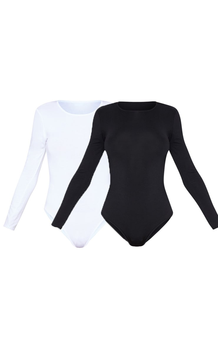 Basic Black & White 2 Pack Crew Neck Long Sleeve Bodysuit 3