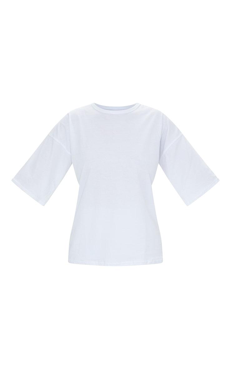 White Cotton Oversized T-Shirt & Hot Pants Set 5
