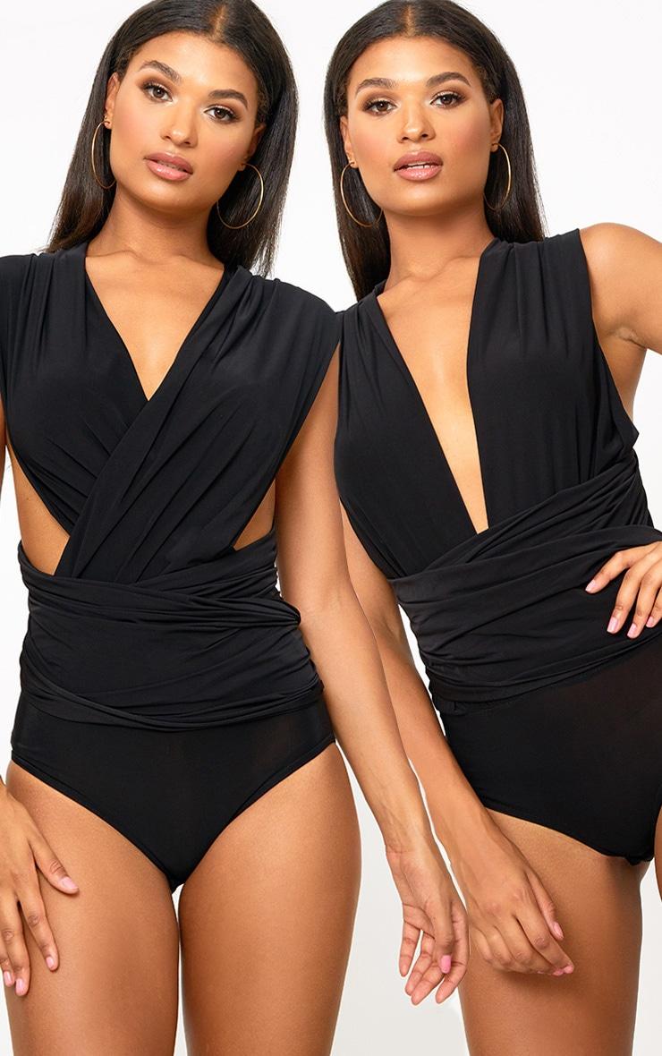 Black Multi Way Slinky Thong Bodysuit  1