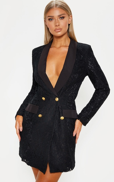 e69c47037ac Black Lace Gold Button Blazer Dress