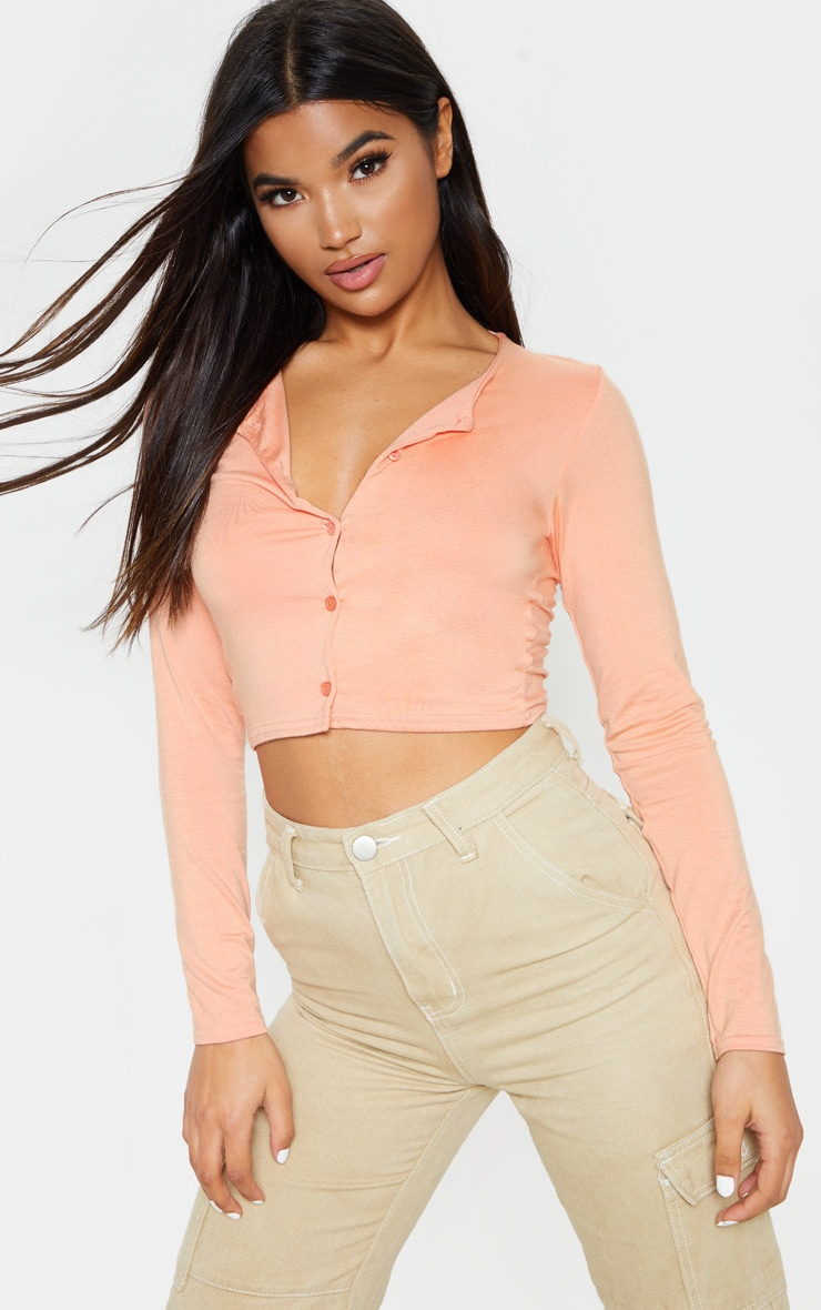 Peach Button Front Long Sleeve Crop Top 1