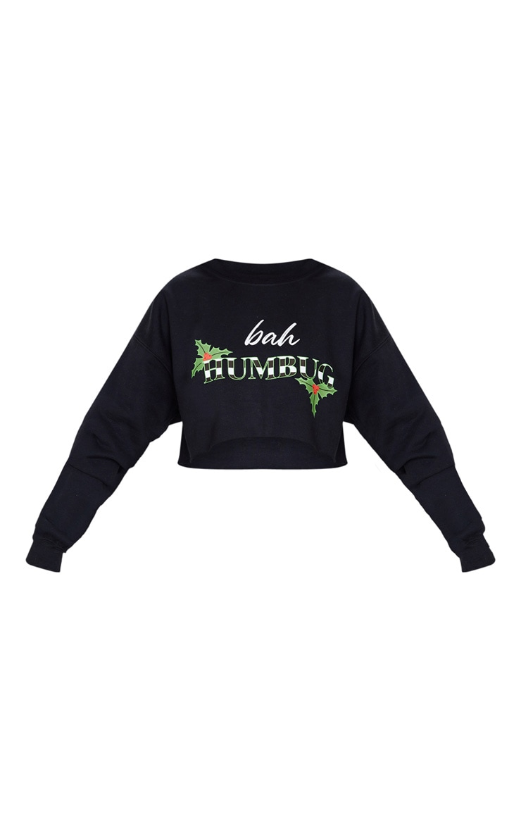 Black Bah Humbug Cropped Sweatshirt 3