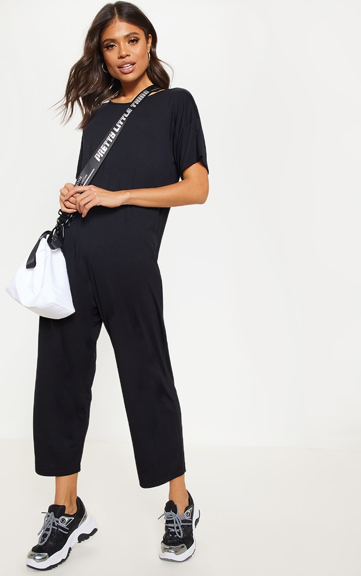 Black Oversized T Shirt Culotte Jumpsuit 1