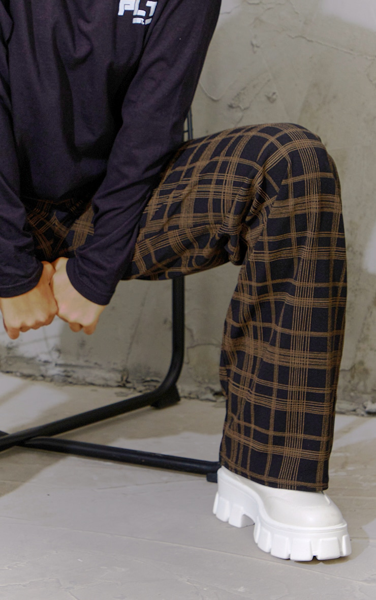 Black Classic Check Wide Leg Trousers 4