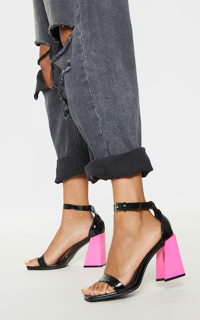Black Flared Block Heel Strappy Sandal