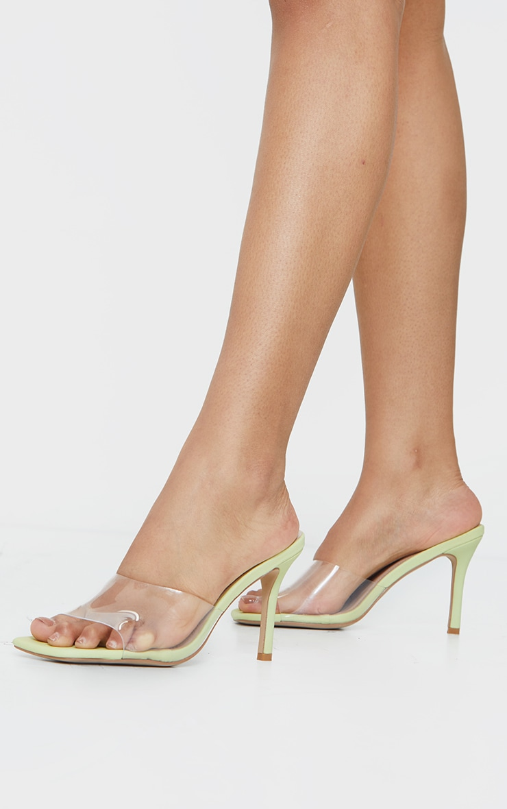 Lime Clear Strap Square Toe Mule Mid Heels 2
