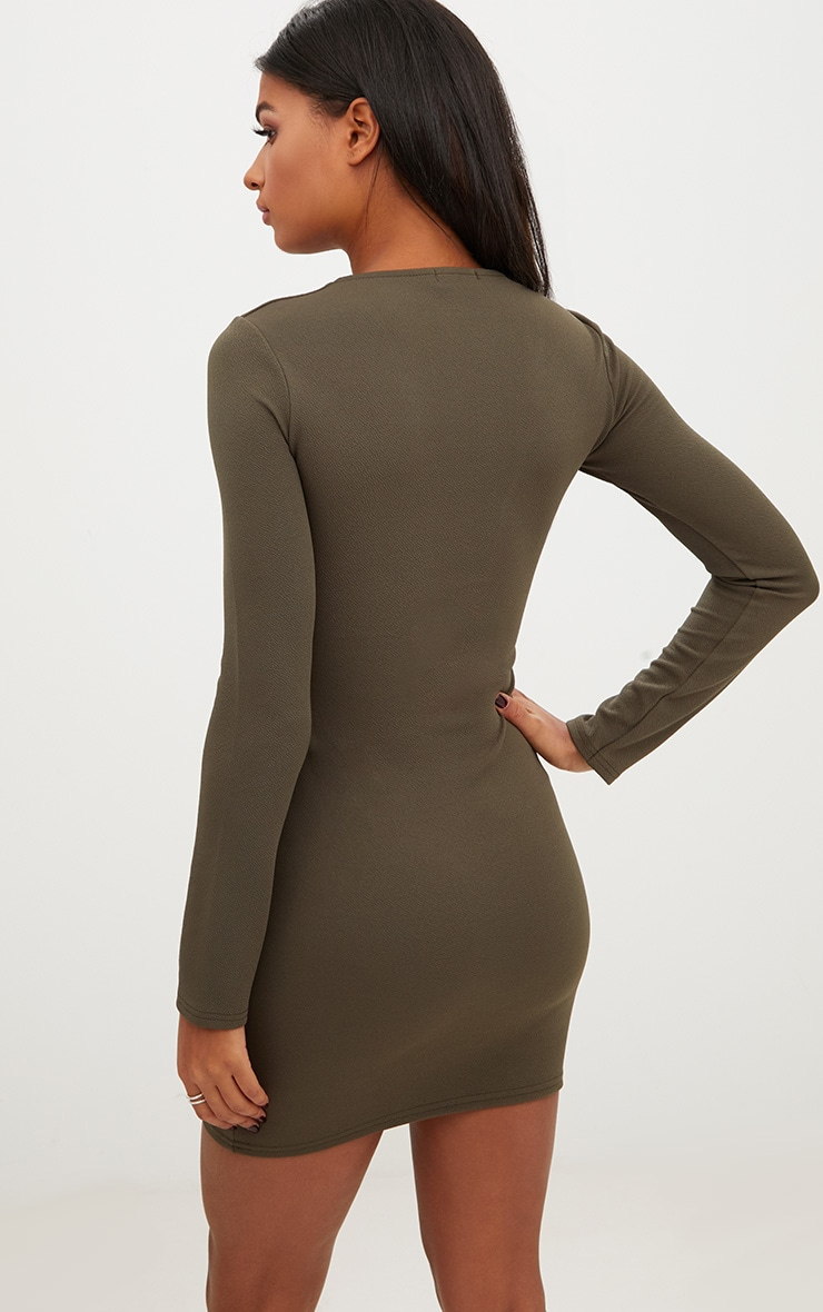 Olive Green Extreme Plunge Lace Up Bodycon Dress 2
