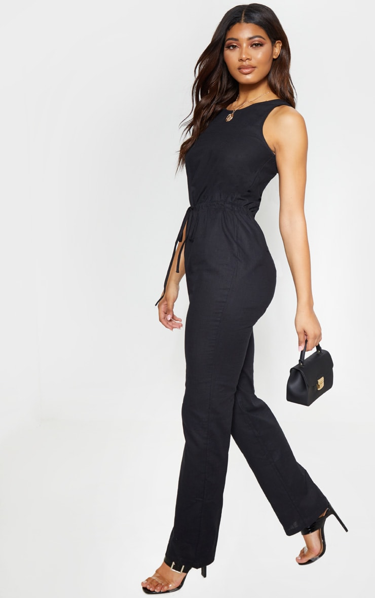 Tall Black Casual Tie Waist Straight Leg Jumpsuit 4