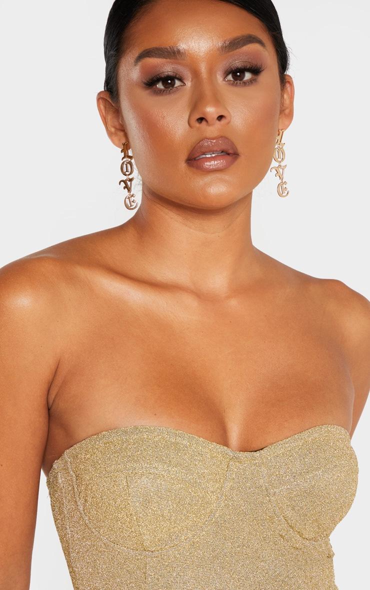 Gold Glitter Bandeau Cupped Bodysuit 6