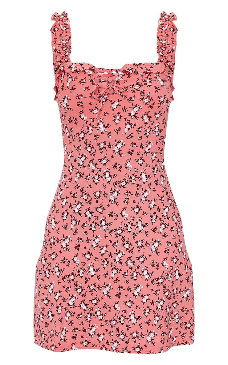 Pink Ditsy Floral Print Frill Detail Shift Dress 5