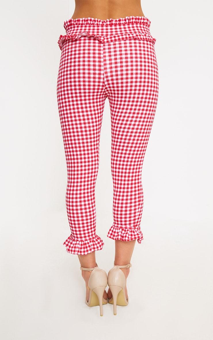 Petite Red Gingham Frill Hem Trousers 3