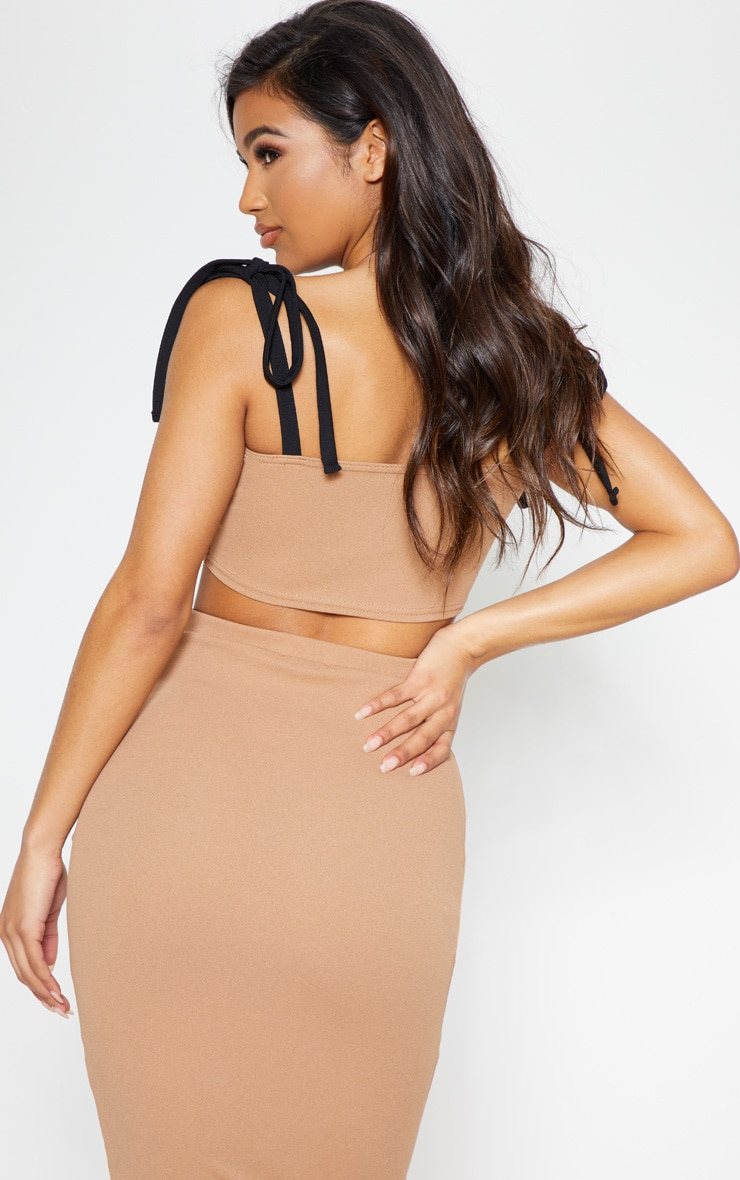 Camel Tie Strap Ruched Detail Crop Top 3