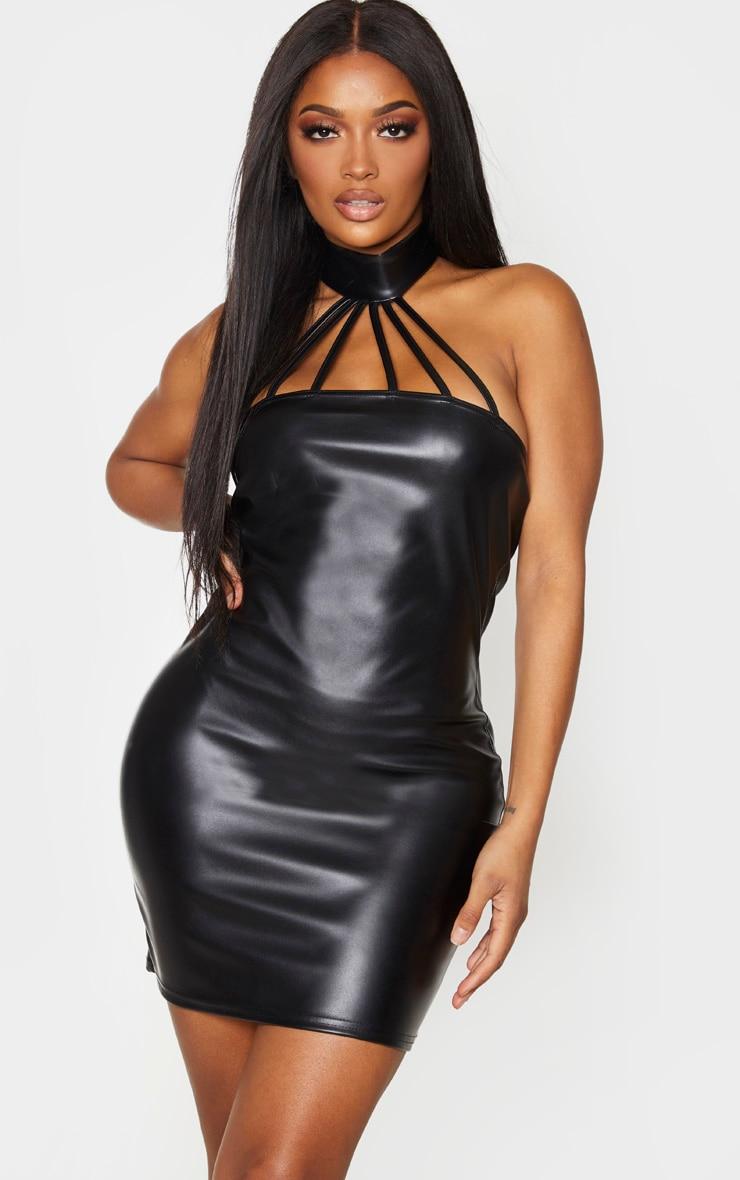 Shape Black PU Halterneck Cut Out Detail Bodycon Dress 1