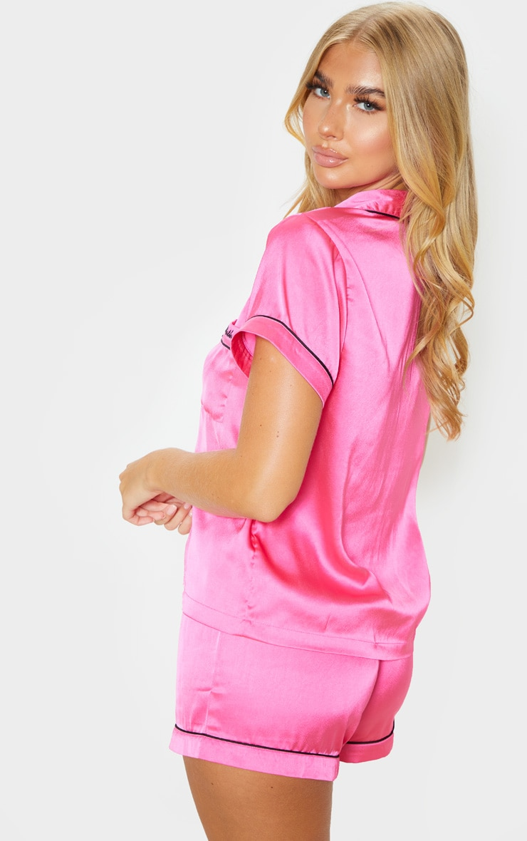 PRETTYLITTLETHING Hot Pink Satin Pocket PJ Set 2