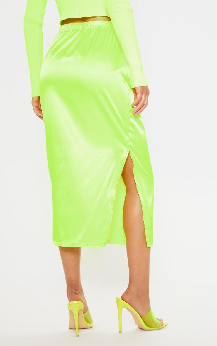 Lime Satin Side Split Midi Skirt 4