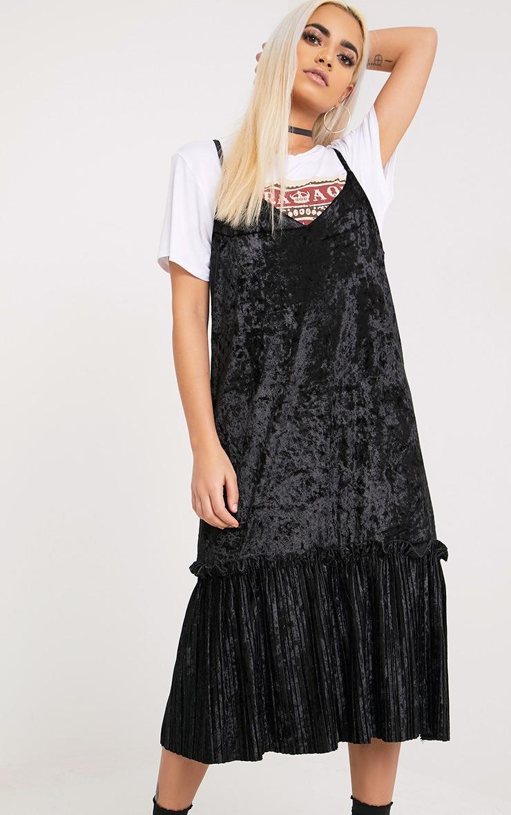 Domanica Black Velvet Frill Hem Midi Dress 2