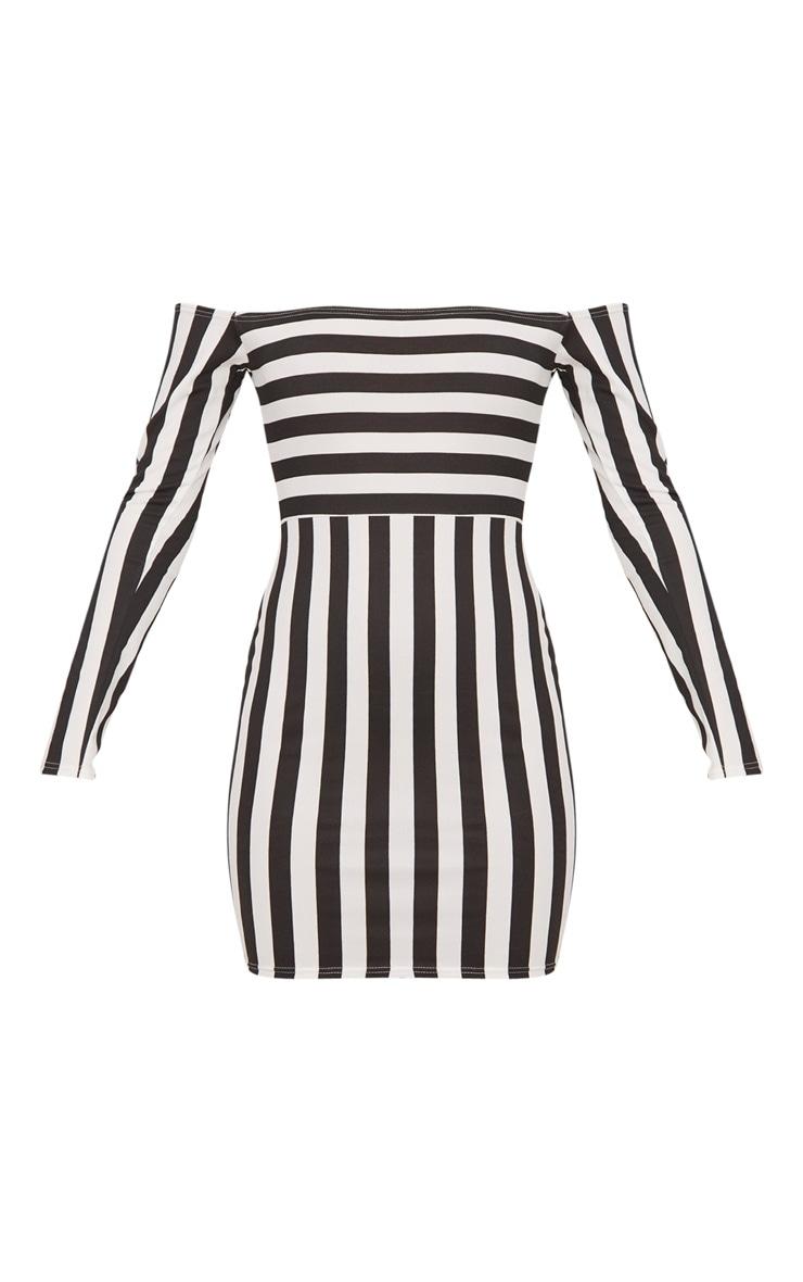 Black Contrast Stripe Bardot Bodycon Dress 3