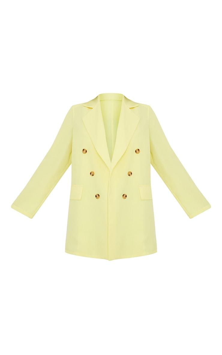 Lemon Woven Oversized Shoulder Pad Button Down Blazer 5