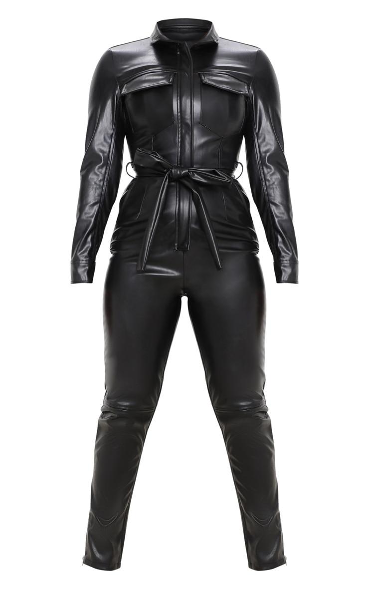 Petite Black PU Boiler Suit 3