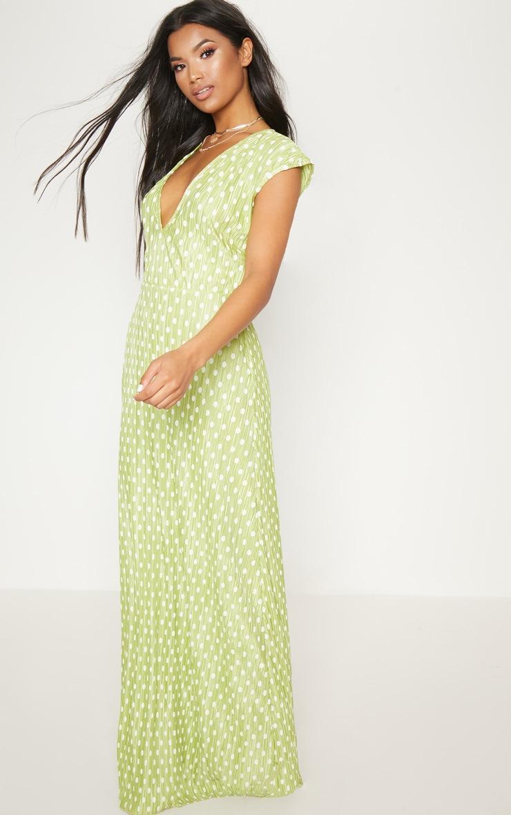 Lime Polka Dot Plisse Plunge Maxi Dress 4