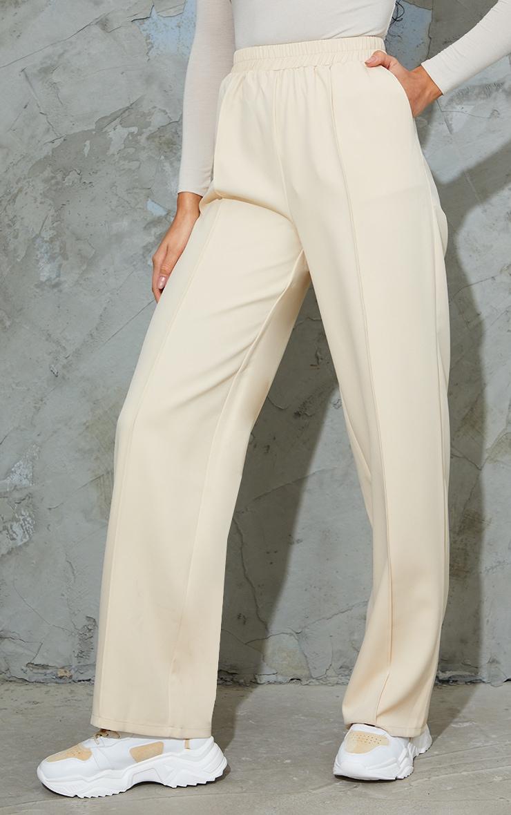 Stone Woven Pintuck Straight Leg Pants 2