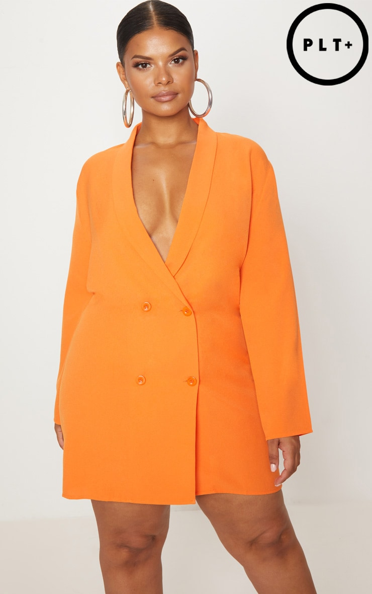 Plus Orange Oversized Blazer Dress 1