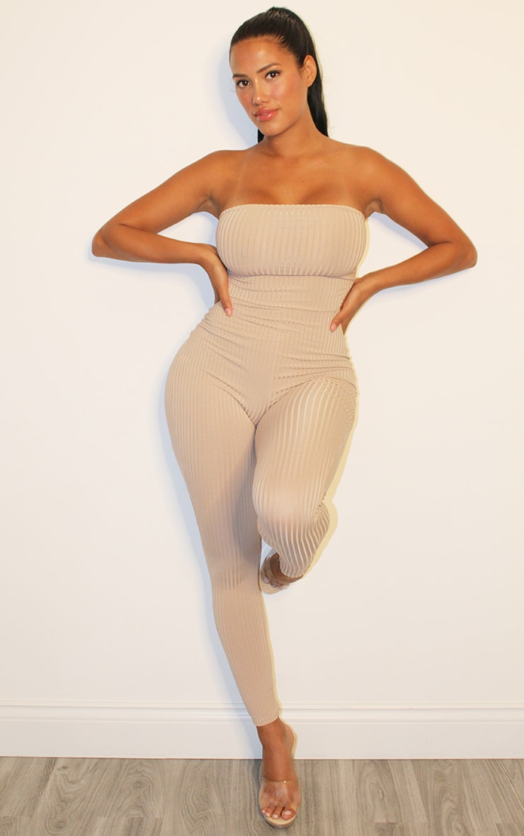 Shape Stone Rib Bandeau Cut Out Side Jumpsuit 1