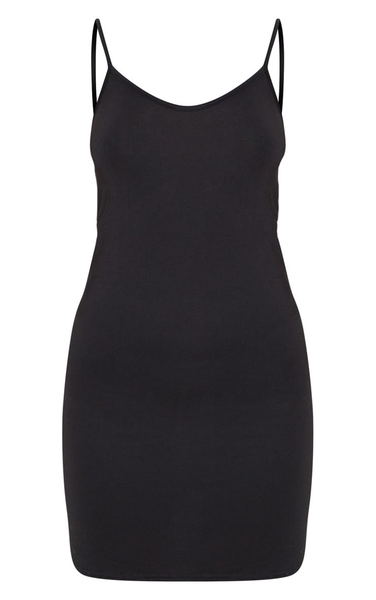 Black Jersey Curved Hem Strappy Bodycon Dress 3