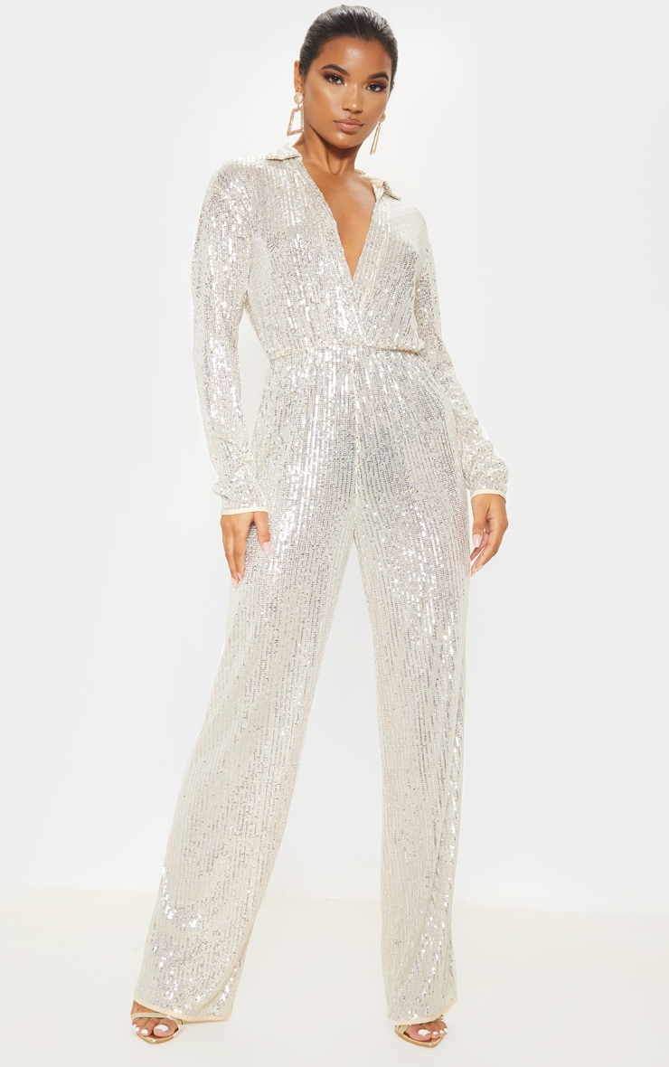Silver Sequin Collar Detail Long Sleeve Jumpsuit 1