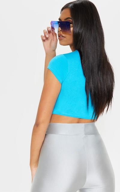 Basic Bright Blue Short Sleeve Crop T Shirt