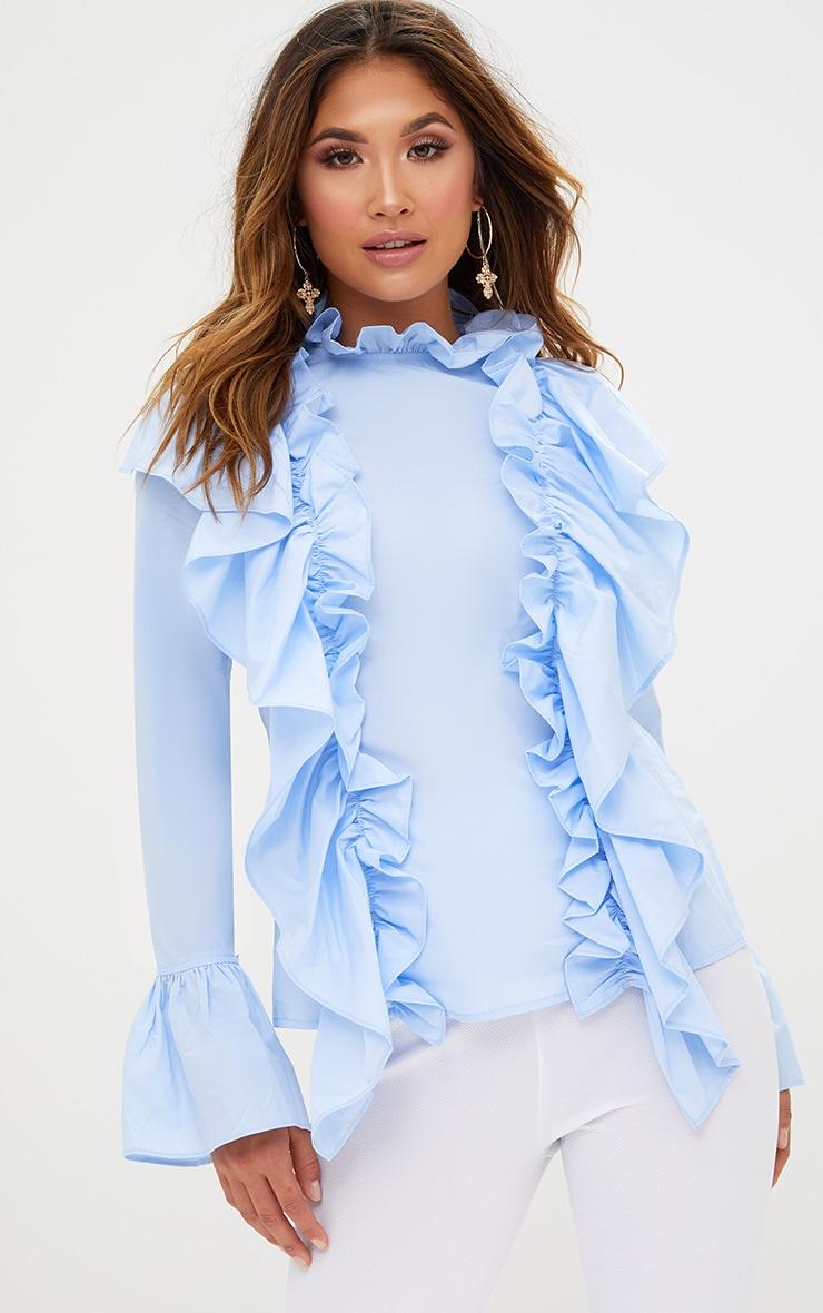 Blue Ruffle Frill High Neck Shirt 1
