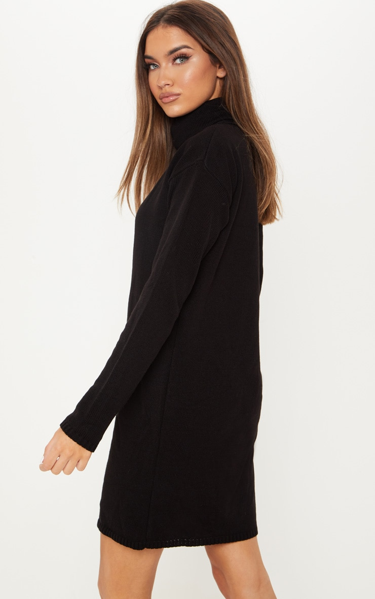 Black High Neck Knitted Jumper Dress 2