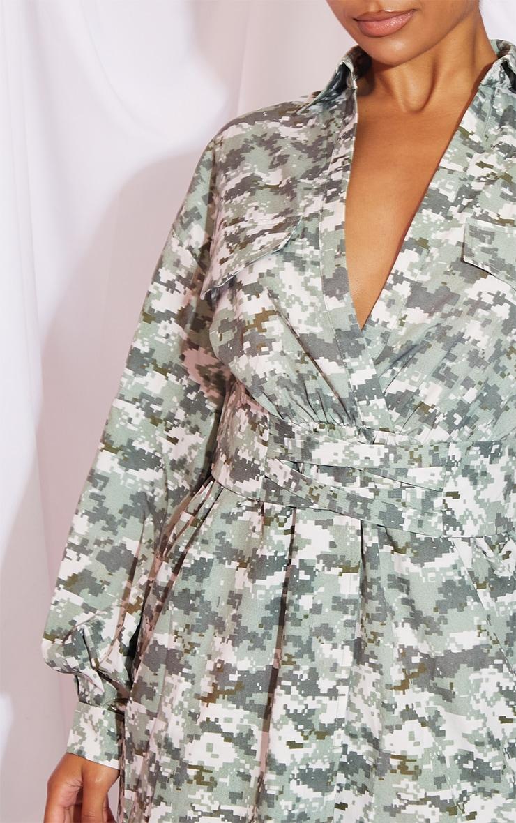 Khaki Pixilated Camo Plunge Waist Detail Long Sleeve Shift Shirt Dress 4