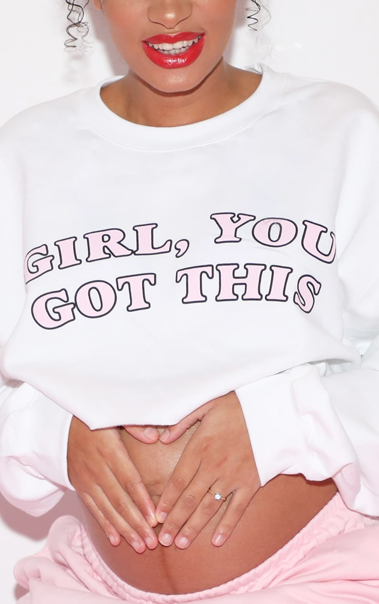 Girl, YOU GOT THIS Cropped Sweater White 6
